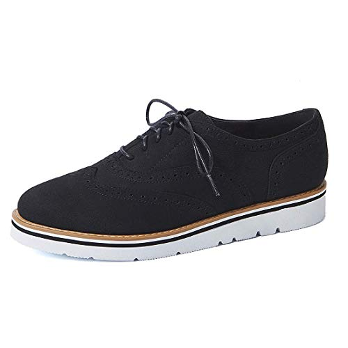 (GOUPSKY Oxford Shoes for Women Brogues Platform Lace Up Loafers Flat Shoes Slip on Perforated Wingtip Sneakers)