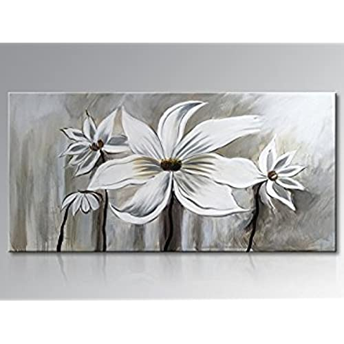 Seekland Art Hand Painted Oil Painting On Canvas Floral Wall Art Abstract  Black And White Lotus Wall Decor For Bedroom Living Room Dining Room Office  ...