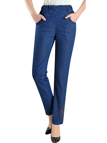 Bigassets Mujeres Verano Primavera Alta Cintura Vaqueros Pantalones Rectos Jeans Bordados Azul