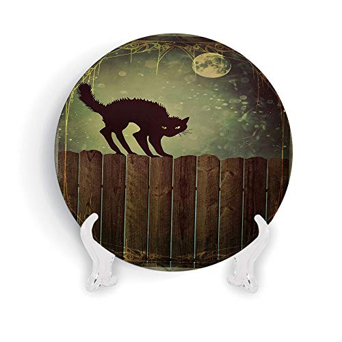 iPrint 8'' Halloween Angry Aggressive Cat on Old Wood Fences at Night Framework Eerie Vintage Print Decorative by iPrint (Image #1)