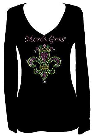 Mardi Gras Fleur De Lis Rhinestone V Neck Long Sleeve Tee Shirt at