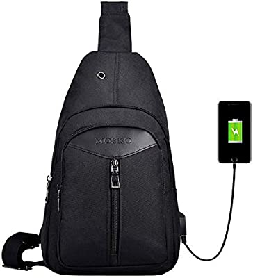 54175bf0ca08 MOSISO Sling Backpack with USB Charging Port, Polyester Travel Daypack  Durable Chest Shoulder Unbalance Gym Fanny Crossbody Sack Satchel Outdoor  ...