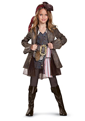 Disney POTC5 Captain Jack Sparrow Girl Deluxe Costume,  Multicolor,  Small (4-6X) (Deluxe Kids Captain Jack Sparrow Costumes)