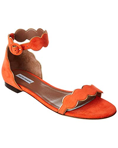 Tabitha Simmons Pearl Suede Sandal, 40, Red for sale  Delivered anywhere in USA