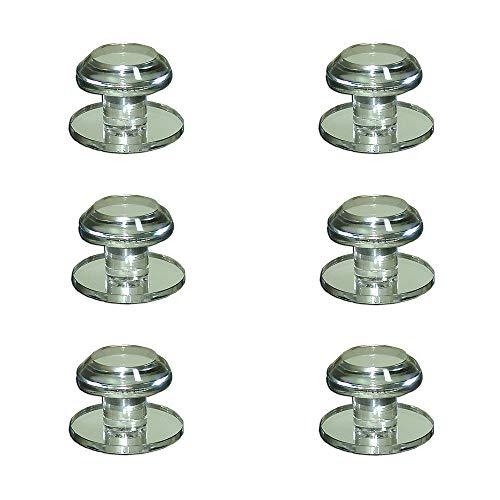 Mirart 1¼ Pull Handle, Self Stick Round Acrylic Mirror Beveled Knob (6 Pack)