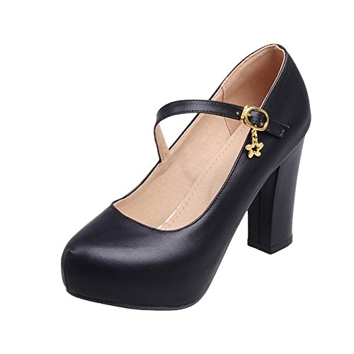 Latasa Womens Fashion Buckles Platform Block High Heel Dress Mary Jane Pumps Shoes Black VE9dHhnzr