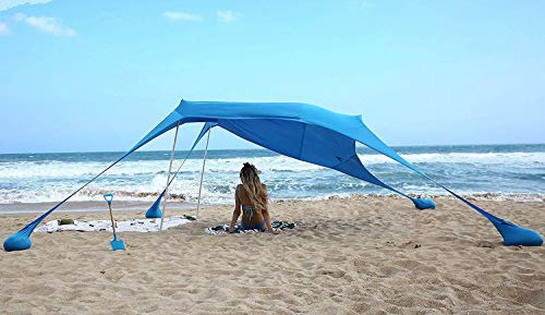 (AMMSUN Beach Tent with sandbag Anchors, Portable Canopy Sun Shelter,7 X 7ft -Lightweight, 100% Lycra SunShelter with UV Protection. Sunshade for Family at The Beach, Parks, Camping & Outdoors/Blue)