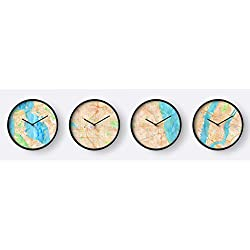 DOCAZON US Time Zone - Set of 4 Wall Clocks - Printed Watercolor Maps New York City (Eastern), Chicago (Central), Denver (Mountain) San Francisco (Pacific)