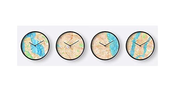 Amazon.com: DOCAZON US Time Zone - Set of 4 Wall Clocks ...