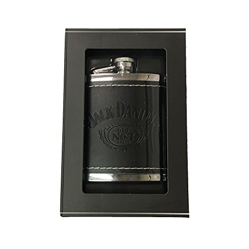 Jack Daniels Black Leather Cover Stainless Steel Flask