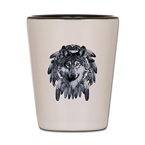 Shot Glass White and Black of Wolf Dreamcatcher - Dream Catcher Shot Glass