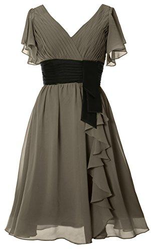 MACloth Elegant Short Sleeve Mother of Bride Dress V Neck Cocktail Formal Gown Pewter