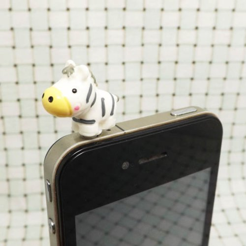 ZOEAST Lovely Animal World White Rabbit Little Deer Pegasus White Whale Swan Yellow Duck Honeybee Ram White Sheep Cow Zebra Elephant Resin Animal Dust Plug 3.5mm Phone Accessory Cell Phone Plug iPhone Dust Plug Samsung Plug Phone Charm Headphone Jack Earphone Cap Ear Cap Dust Plug (Zebra) - Rabbit Dust