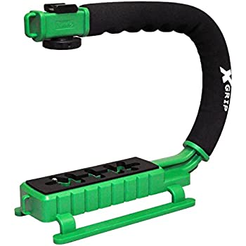 Opteka X-GRIP Professional Camera / Camcorder Action Stabilizing Handle with Accessory Shoe for Flash, Mic, or Video Light (Green)