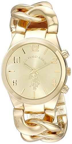 U.S. Polo Assn. Womens USC40069 Gold-Tone Link Bracelet Watch