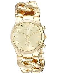 U.S. Polo Assn. USC40063 Reloj con brazalete de eslabones en tono dorado para mujer