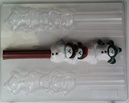Stack of three cute & playful snowmen, Pretzel Rod C131 Christmas Chocolate Candy Mold]()