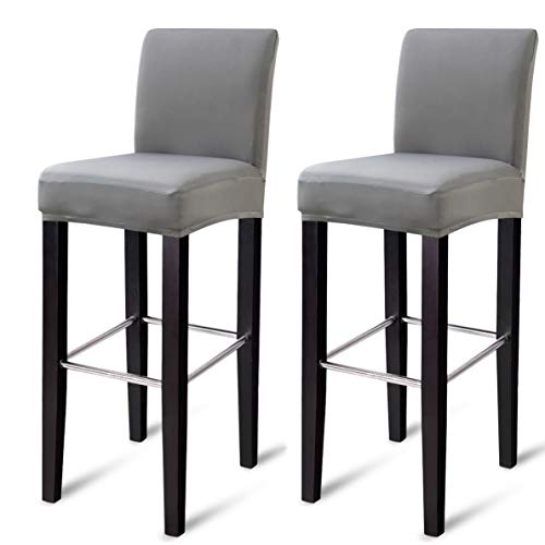 MOCAA Dining Chair Covers,Bar Stool Chair Covers, Barstool Slipcovers 2 Pack,M023 (Light Grey)
