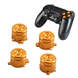 PS4 Bullet Buttons Aluminum Custom Metal Playstation 4 DualShock 4 Replacement Standard Buttons Spare Parts Accessories for Modded PS4 Controllers Bullet Golden