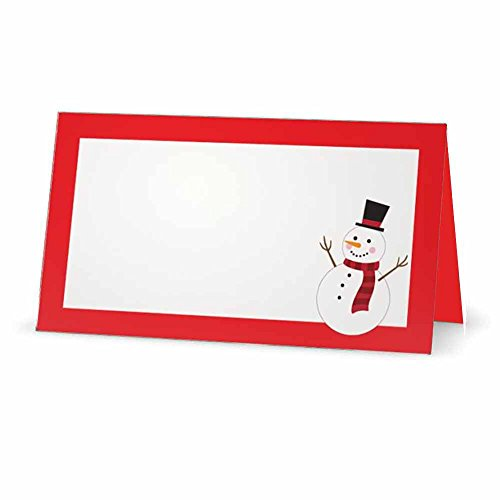 Snowman on Red Place Cards - TENT Style - 50 PACK - White Blank Front with Border - Placement Table Name Seating Stationery Party Supplies Occasion Dinner (50, RED) by Stationery Creations (Image #1)
