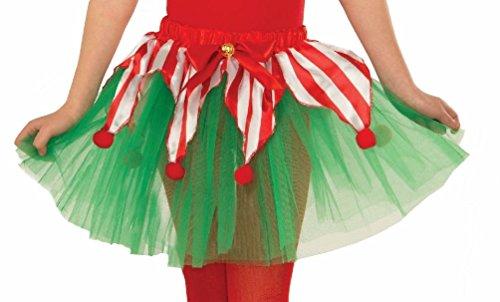 Tutu Elf Costume (Candy Cane Tutu Christmas Crinoline Elf Red Green Child Girls Costume Accessory)
