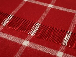 Bronte 100% Pure Lambs Wool Sofa Throw Blanket - Massif Red With Cream  Stripe
