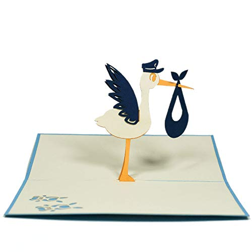 Cute Baby Shower 3d pop up stork card with envelope ()