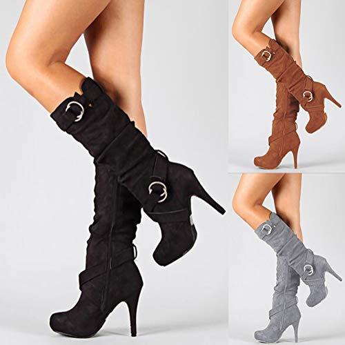 Longues Chaussures Mode Boots Talons Noir Femme Hiver Minetom Stiletto Casual Sexy Bottes Haut De Daim Automne wOH4AUx6q