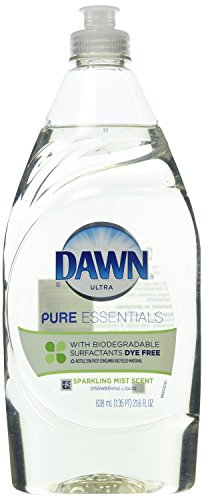 Dawn Ultra Pure Essentials Dishwashing Liquid, Clear/Straw color - no dyes, Sparkling Mist, 21.6 Ounce (Pack of (Scented Liquid)
