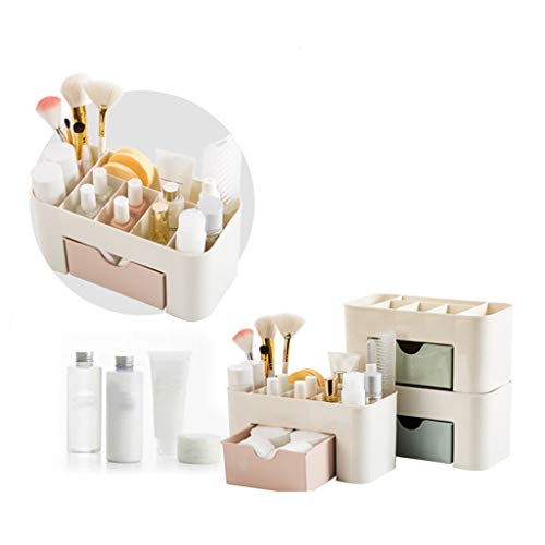 Makeup Organizer with Bigger Drawers, Saving Space Desktop Comestics Makeup Storage for Brushes Palettes Lipsticks (Pink)