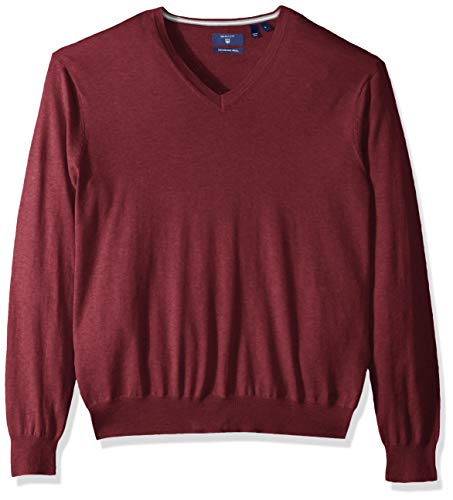Mens V-neck Silk Sweater - GANT Men's Silk Blended V Neck Sweater, Dark Burgundy Melange XL