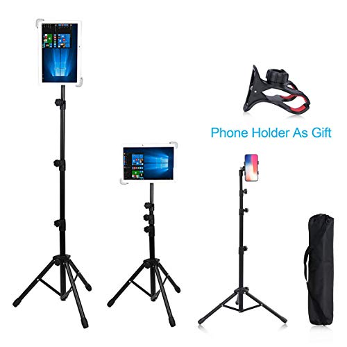 Foldable Floor Tablet Tripod Stand and Mount for Ipad, 360° Rotating and Height Adjustable Up to 59 Inch for iPad1,2,3,4/iPad Air/iPad Mini/7-12 inch Tablet,Cell Phone Holder and Carrying Bag as - Stand Tripod 12