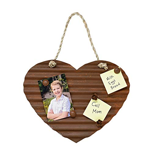 RUSTIC METAL HEART MEMO BOARD -Large corrugated rusty tin magnetic farmyard love heart with 5 weathered magnets to pin organize notes photos reminders grocery to-do lists cute farmhouse style décor ()