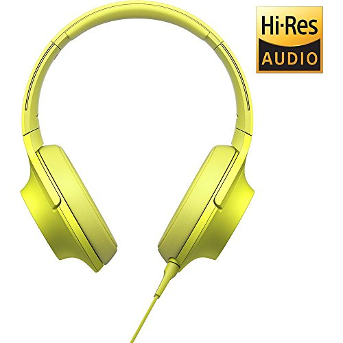Sony MDR100AAP h.Ear on Premium Hi-Res On-Ear Stereo Headphones - Lime Yellow (MDR100AAP/Y) with HardBody Headphone Case, A1 Headphone Amplifier, 2600mAh Port. Keychain Power Bank & Cleaning Cloth