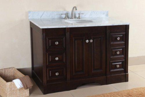 (Virtu USA RS-10524-WM-DW 25-Inch Austen Italian Carrara Marble Single Sink Bathroom Vanity, Dark Walnut)