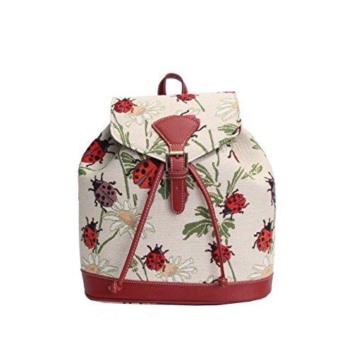 Signare Red Ladybug and Daisy Pattern Women's Fashion Canvas Tapestry Flap Buckle Pull String Fashion Casual Rucksack Backpack ()