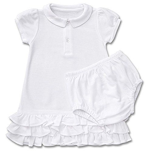 Fore Kids Apparel Baby Girls Pima Cotton Tennis Dress w/Bloomers White 12-18M (Dress Cotton Pima)