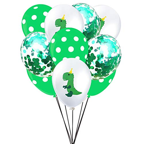 Dinosaur Latex Balloons and Confetti Balloons - Dino Baby Shower Jungle Jurassic Birthday Party Decorations Supplies(30 Packs) ()