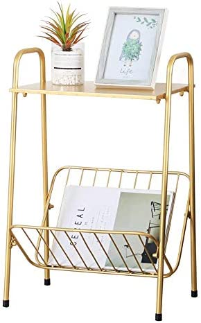 Gold Modern Rectangular Metal Side Table,Two-Story End-Table