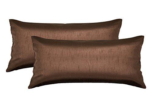 Aiking Home 12x24 Inches Faux Silk Rectangular Throw Pillow Cover, Zipper Closure, Brown (Set of 2)
