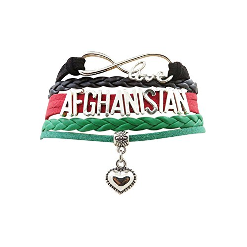 AccessCube Customized Unisex Infinity Leather Metal Country Flag Bracelet Wristband Cuff (Afghanistan Country Flag)