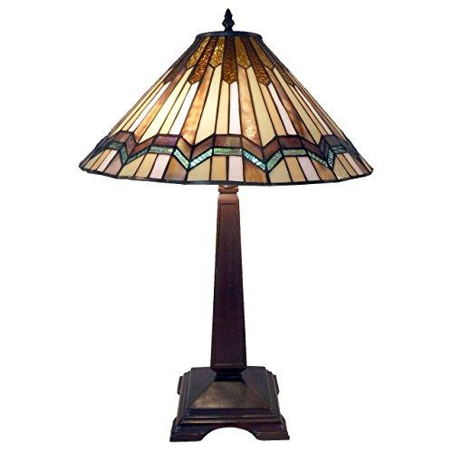 Warehouse of Tiffany Exavyera Tiffany-style Stained-glass 2-light Table Lamp