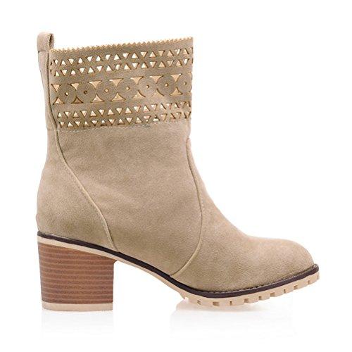 Agodor Women's Mid Block Heel Cut Outs Nubuck Leather Ankle Boots Slip On Elegant Winter Shoes Apricot YN4J17Ml