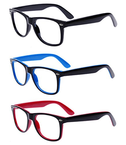 Outray Unisex Retro 80' Clear Lens Glasses 3 Pairs Black Blue Red