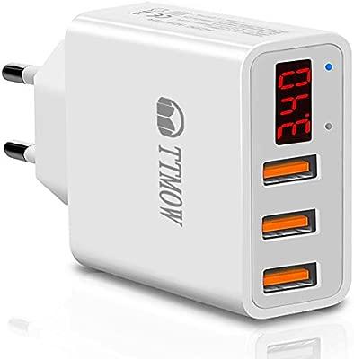 TTMOW Cargador USB de Pared con Pantalla LCD Visualización, Corriente Máxima De 2,4A por Cada Puerto (5V/3.4A), Compatible con iPhone, iPad, Samsung y ...