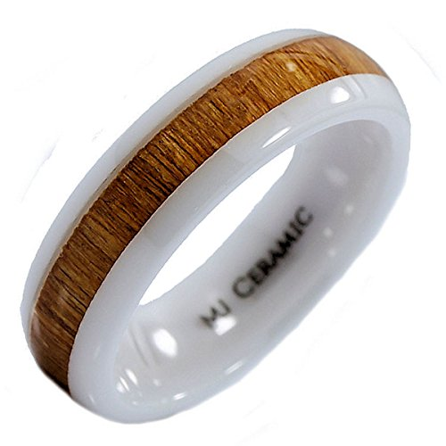 6mm White Ceramic Wedding Band, Inlay Made from Real Koa Wood, Ring Size 10