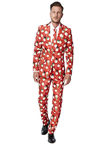 Suitmeister Christmas Suits for Men in Different Prints - Ugly Xmas Sweater Costumes Include Jacket Pants & Tie]()
