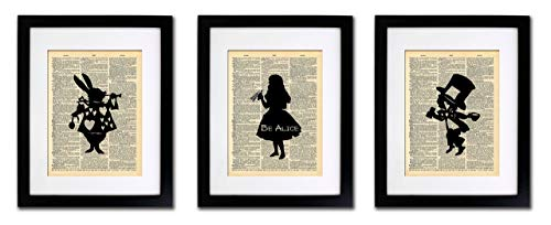 (Alice in Wonderland Tea Party - 3 Print Set - Vintage Dictionary Print 8x10 Home Vintage Art Abstract Prints Wall Art for Home Decor Wall Decorations For Living Room Bedroom Office Ready-to-Frame 3)