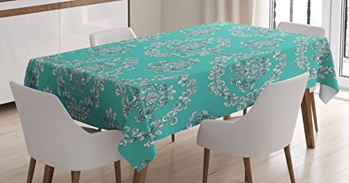 Victorian Tablecloth by Lunarable, Greek Roman European Floral Motifs Nature Inspired Art Nouveau Style, Dining Room Kitchen Rectangular Table Cover, 52 W X 70 L Inches, Turquoise Teal (Art Nouveau Dining Room)