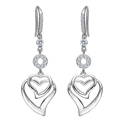 - EVER FAITH Women's 925 Sterling Silver CZ Sweet Love Heart Hook Dangle Earrings Clear